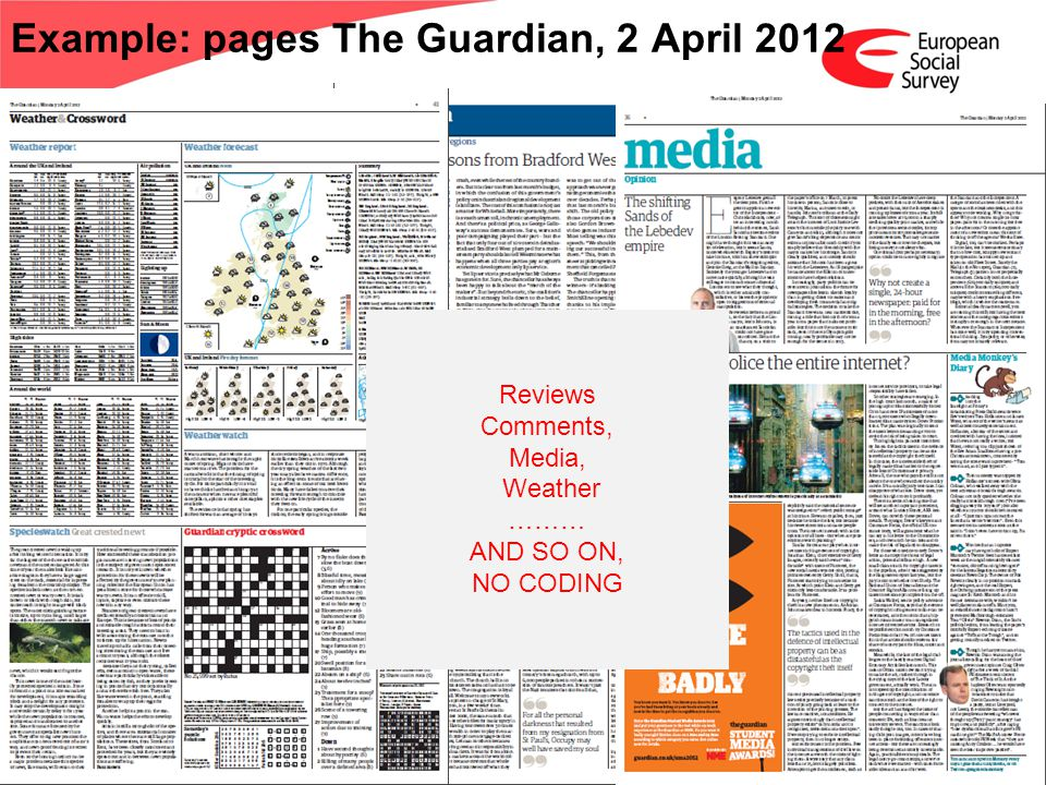 www.europeansocialsurvey.org Training Package Media Claims; Round 6 ESS 2012 Example: pages The Guardian, 2 April 2012 Reviews Comments, Media, Weather ……… AND SO ON, NO CODING
