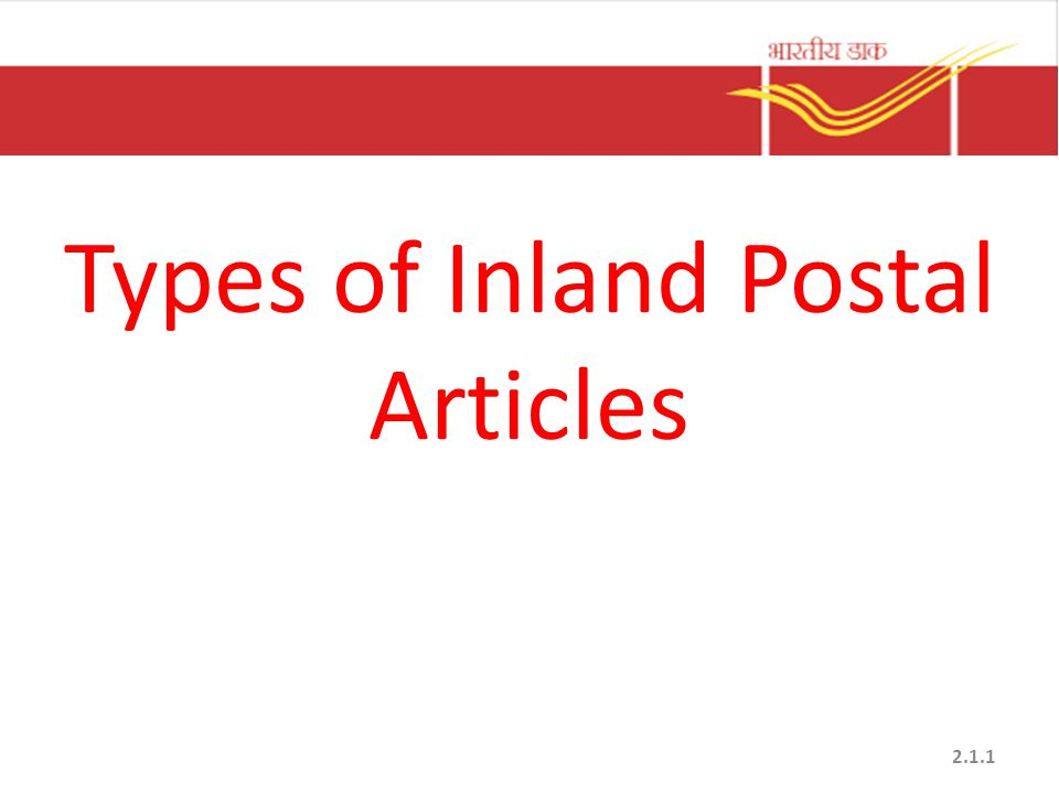 Types of Inland Postal Articles 2.1.1