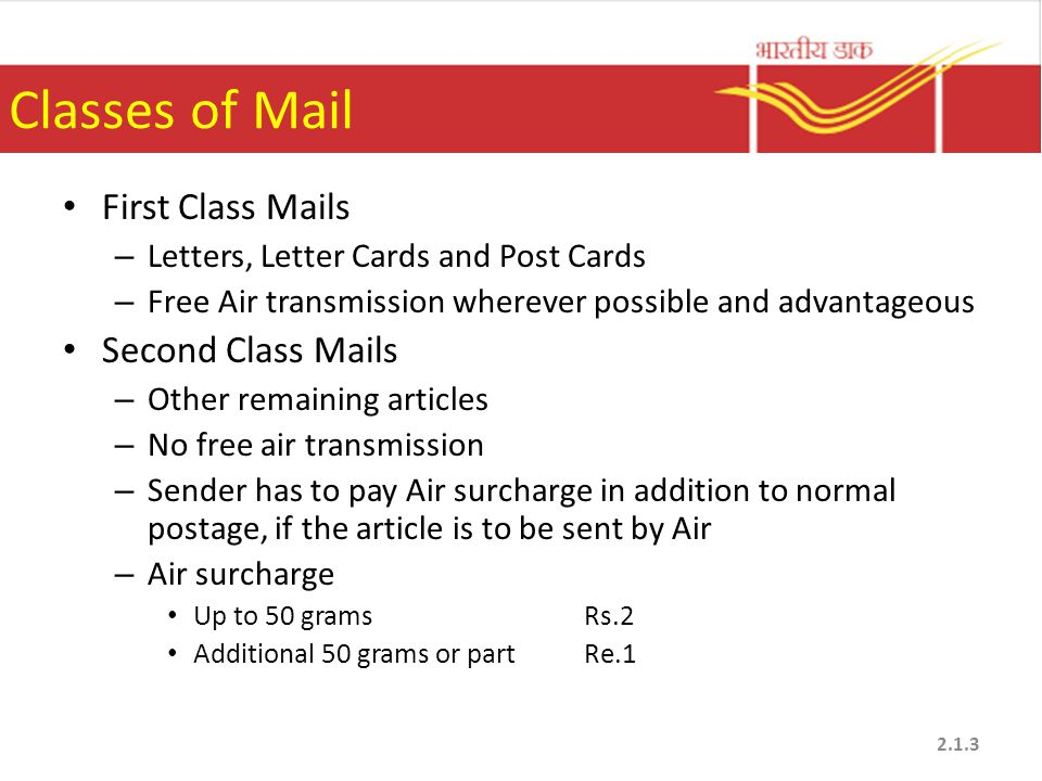 Classes of Mail First Class Mails – Letters, Letter Cards and Post Cards – Free Air transmission wherever possible and advantageous Second Class Mails