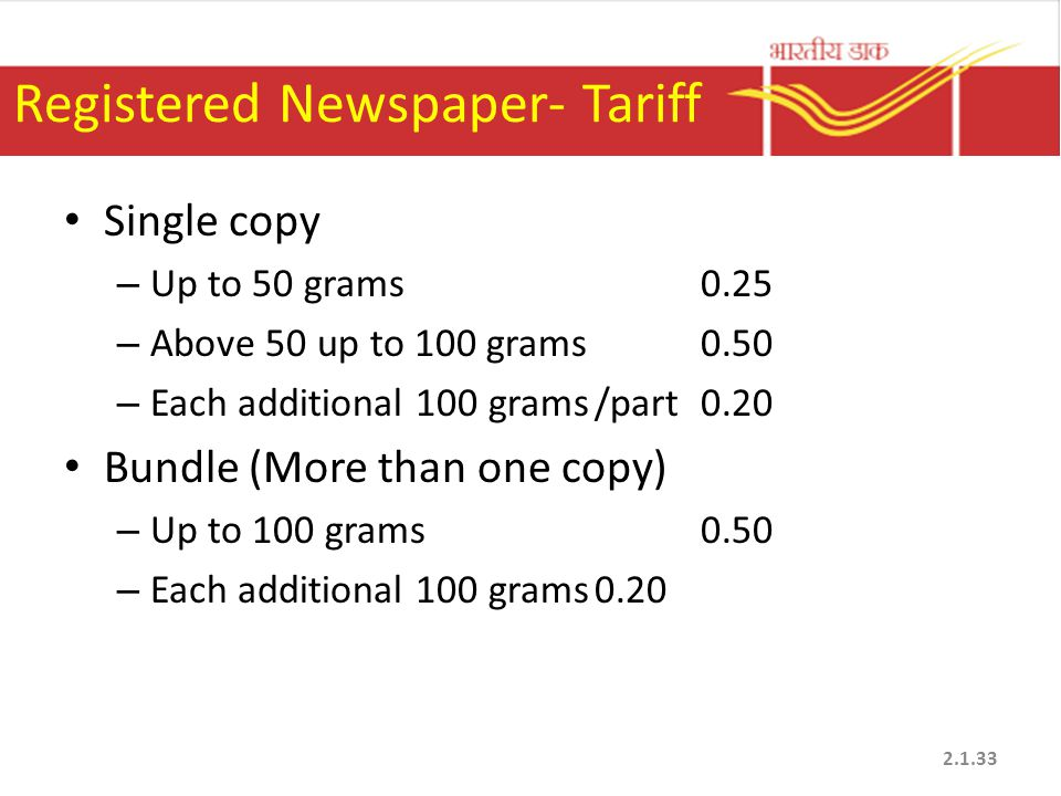 Registered Newspaper- Tariff Single copy – Up to 50 grams0.25 – Above 50 up to 100 grams0.50 – Each additional 100 grams/part0.20 Bundle (More than on