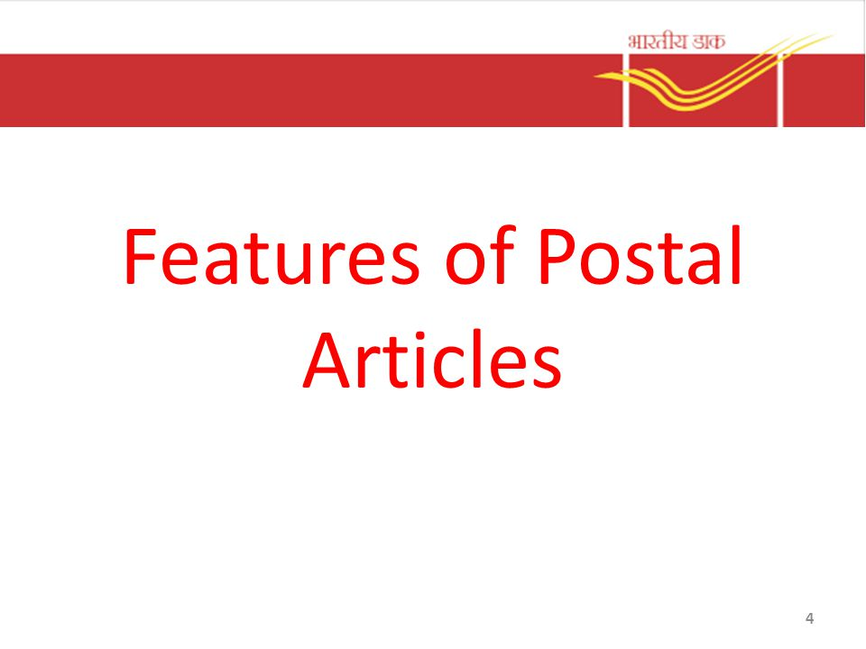 Features of Postal Articles 4