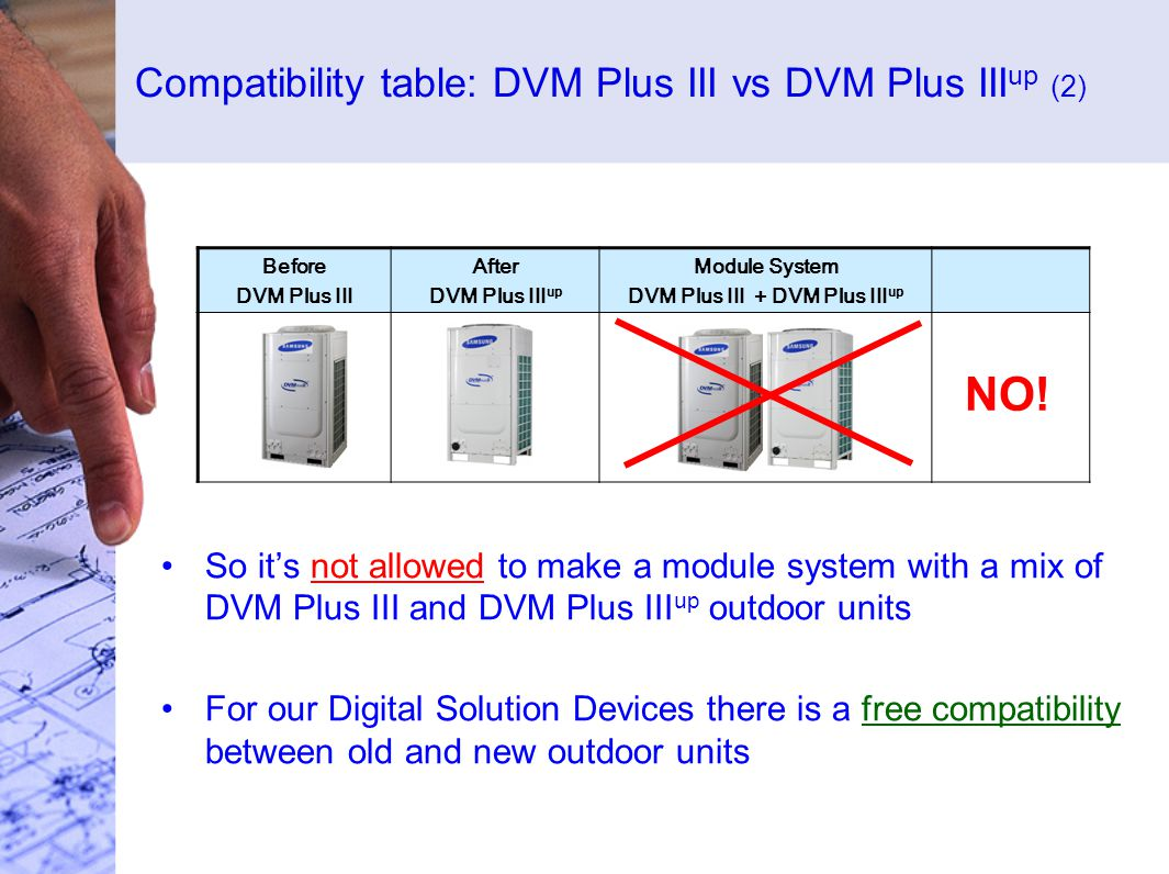 Compatibility table: DVM Plus III vs DVM Plus III up (2) So its not allowed to make a module system with a mix of DVM Plus III and DVM Plus III up outdoor units For our Digital Solution Devices there is a free compatibility between old and new outdoor units Before DVM Plus III After DVM Plus III up Module System DVM Plus III + DVM Plus III up NO!