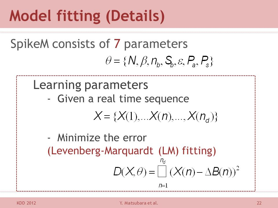 Learning parameters -Given a real time sequence -Minimize the error (Levenberg-Marquardt (LM) fitting) Model fitting (Details) SpikeM consists of 7 pa