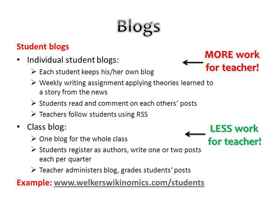 Student blogs Individual student blogs: Each student keeps his/her own blog Weekly writing assignment applying theories learned to a story from the news Students read and comment on each others posts Teachers follow students using RSS Class blog: One blog for the whole class Students register as authors, write one or two posts each per quarter Teacher administers blog, grades students posts Example: www.welkerswikinomics.com/studentswww.welkerswikinomics.com/students MORE work for teacher.