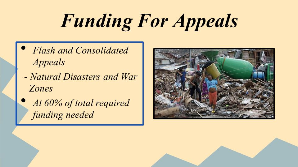 Funding For Appeals Flash and Consolidated Appeals - Natural Disasters and War Zones At 60% of total required funding needed
