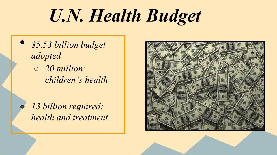 U.N. Health Budget $5.53 billion budget adopted 20 million: childrens health 13 billion required: health and treatment
