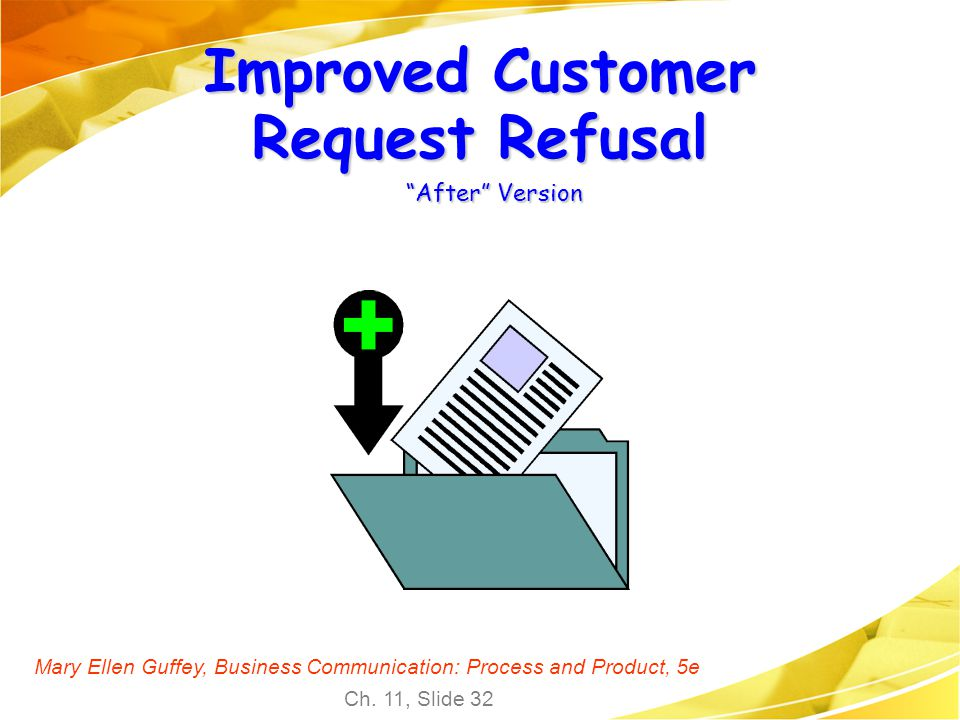 Mary Ellen Guffey, Business Communication: Process and Product, 5e Ch. 11, Slide 32 Improved Customer Request Refusal After Version