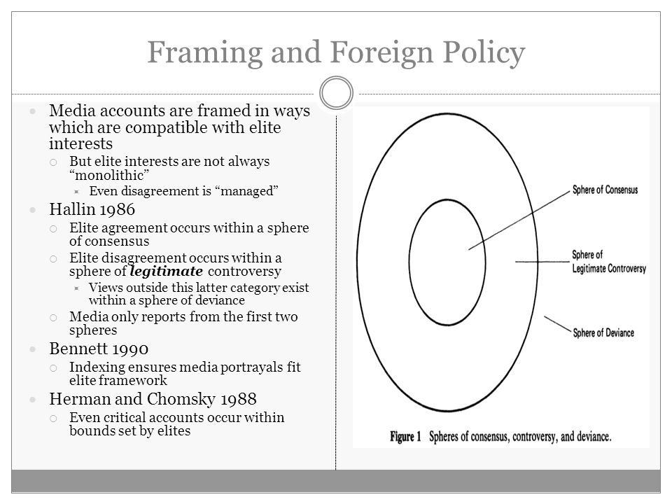 Framing and Foreign Policy Media accounts are framed in ways which are compatible with elite interests But elite interests are not always monolithic Even disagreement is managed Hallin 1986 Elite agreement occurs within a sphere of consensus Elite disagreement occurs within a sphere of legitimate controversy Views outside this latter category exist within a sphere of deviance Media only reports from the first two spheres Bennett 1990 Indexing ensures media portrayals fit elite framework Herman and Chomsky 1988 Even critical accounts occur within bounds set by elites