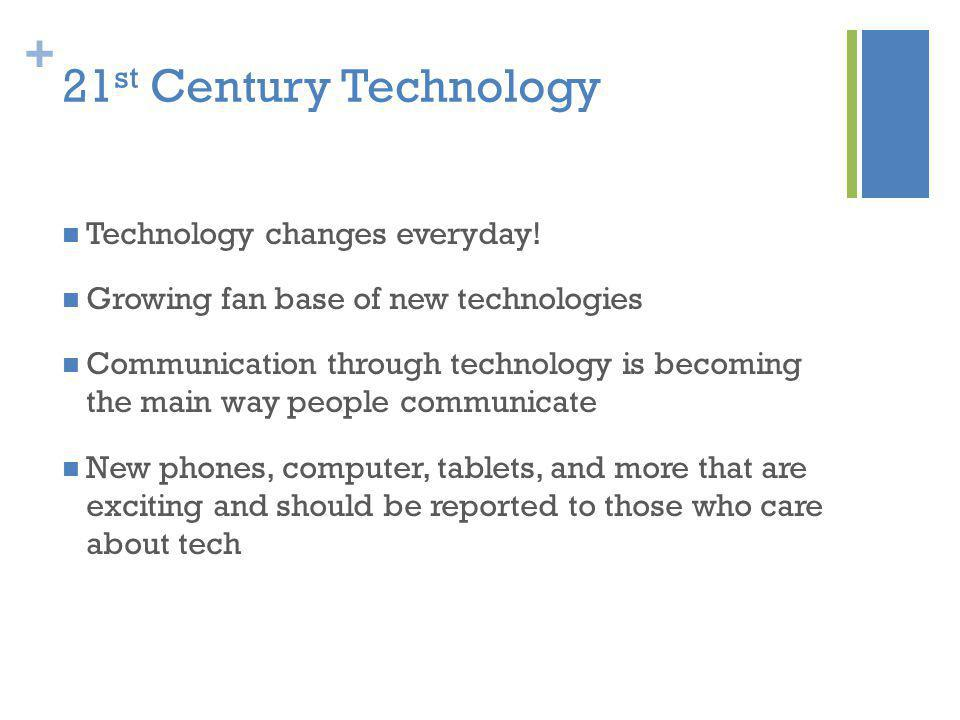 + 21 st Century Technology Technology changes everyday! Growing fan base of new technologies Communication through technology is becoming the main way