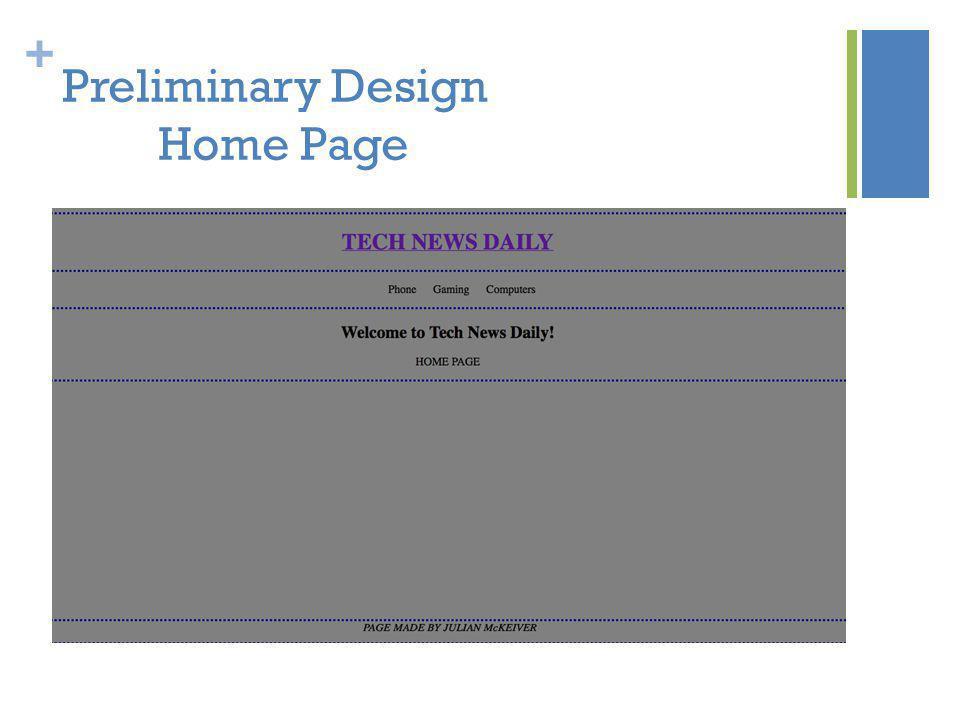 + Preliminary Design Home Page