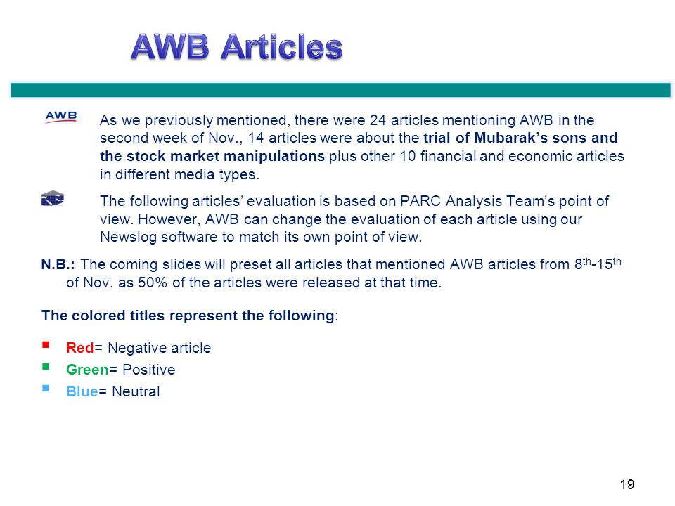 As we previously mentioned, there were 24 articles mentioning AWB in the second week of Nov., 14 articles were about the trial of Mubaraks sons and the stock market manipulations plus other 10 financial and economic articles in different media types.