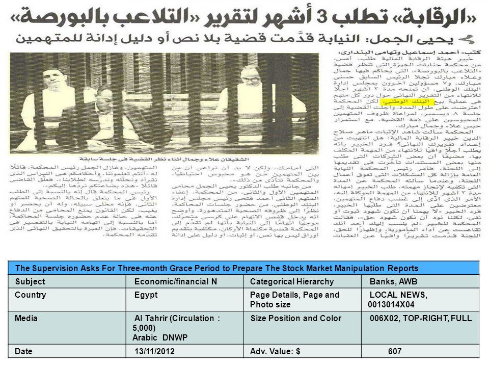 The Supervision Asks For Three-month Grace Period to Prepare The Stock Market Manipulation Reports Subject Economic/financial NCategorical Hierarchy Banks, AWB Country EgyptPage Details, Page and Photo size LOCAL NEWS, 0013014X04 Media Al Tahrir (Circulation : 5,000) Arabic DNWP Size Position and Color 006X02, TOP-RIGHT, FULL Date 13/11/2012Adv.