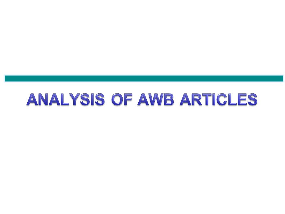Total: 48 Articles As an overview on the AWB articles, almost 50% of its articles were released in the second week of Nov.