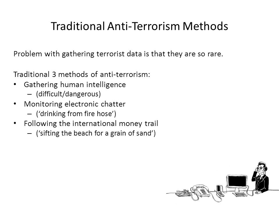 Traditional Anti-Terrorism Methods Problem with gathering terrorist data is that they are so rare.