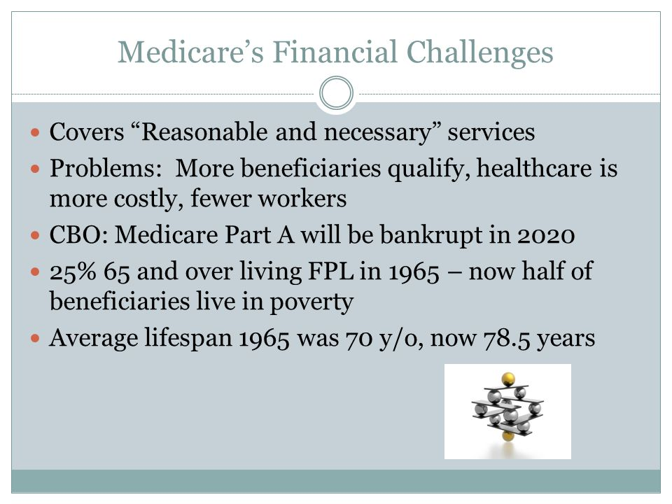 Medicares Financial Challenges Covers Reasonable and necessary services Problems: More beneficiaries qualify, healthcare is more costly, fewer workers