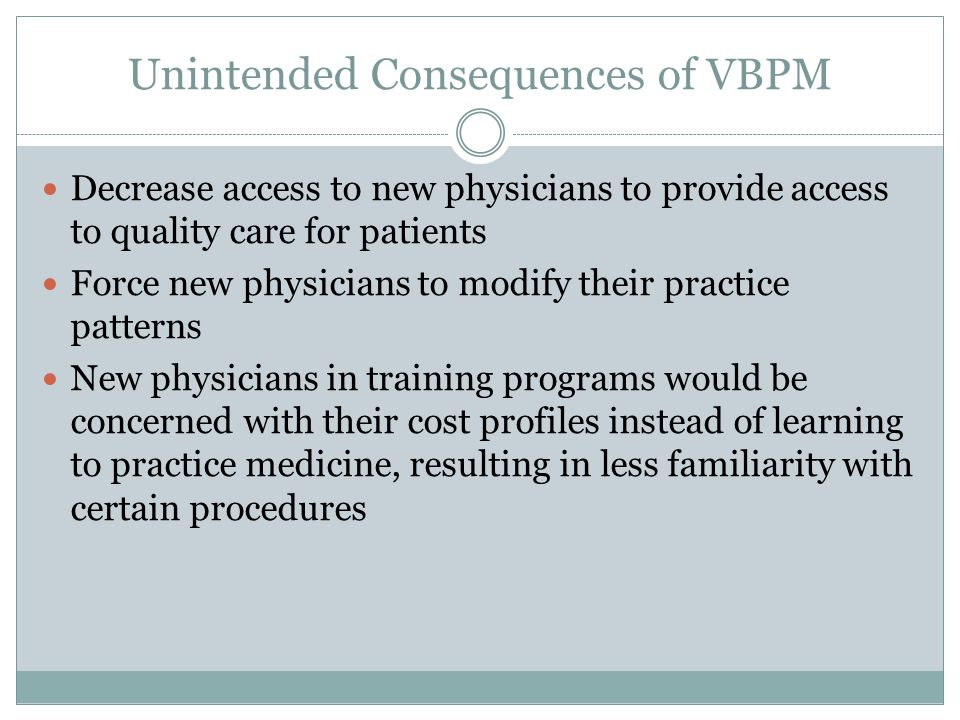 Unintended Consequences of VBPM Decrease access to new physicians to provide access to quality care for patients Force new physicians to modify their