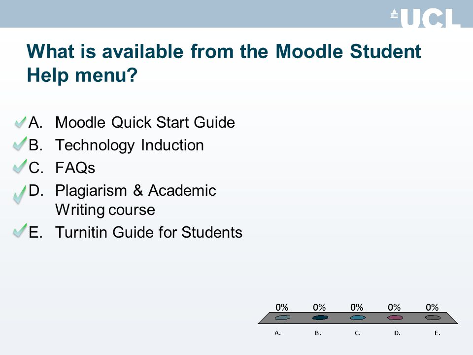 What is available from the Moodle Student Help menu.