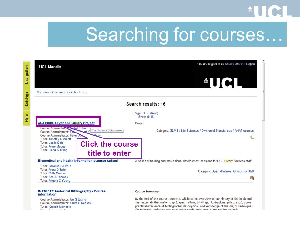 Click the course title to enter Searching for courses…