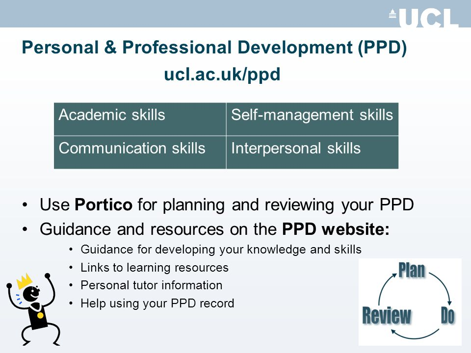 Personal & Professional Development (PPD) Use Portico for planning and reviewing your PPD Guidance and resources on the PPD website: Guidance for developing your knowledge and skills Links to learning resources Personal tutor information Help using your PPD record Academic skillsSelf-management skills Communication skillsInterpersonal skills ucl.ac.uk/ppd