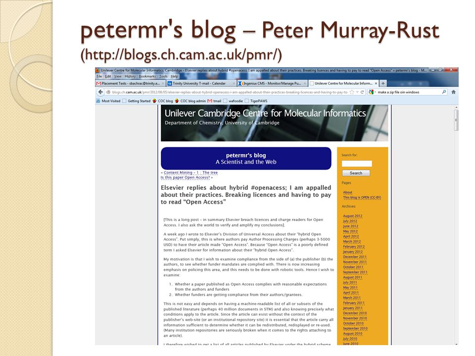petermr's blog – Peter Murray-Rust (http://blogs.ch.cam.ac.uk/pmr/)