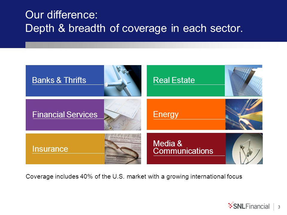 3 Our difference: Depth & breadth of coverage in each sector. Real Estate Energy Media & Communications Financial Services Insurance Banks & Thrifts C
