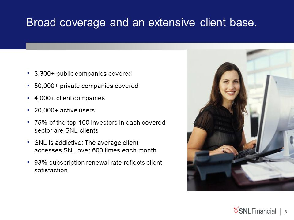6 Broad coverage and an extensive client base. 3,300+ public companies covered 50,000+ private companies covered 4,000+ client companies 20,000+ activ