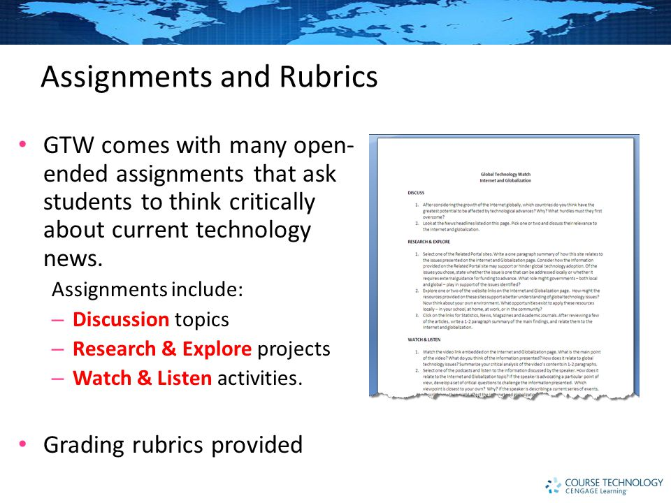 Assignments and Rubrics GTW comes with many open- ended assignments that ask students to think critically about current technology news.
