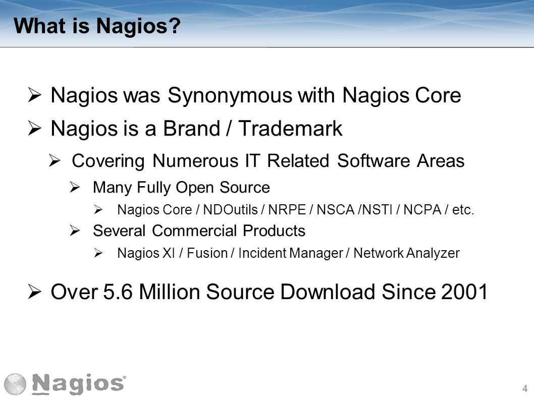 5 Nagios History Nagios Core First Released in 1999 as NetSaint by Ethan Galstad 2001 Project Name Changed to Nagios 2007 Nagios Enterprises Founded 2009 Nagios XI Released