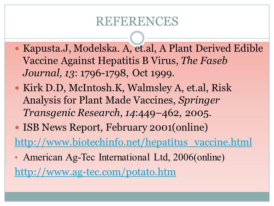 REFERENCES Kapusta.J, Modelska. A, et.al, A Plant Derived Edible Vaccine Against Hepatitis B Virus, The Faseb Journal, 13: 1796-1798, Oct 1999. Kirk D