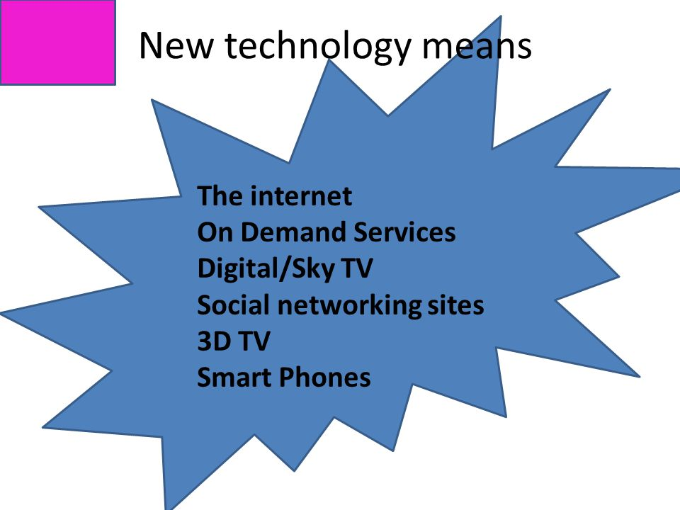 New technology means The internet On Demand Services Digital/Sky TV Social networking sites 3D TV Smart Phones