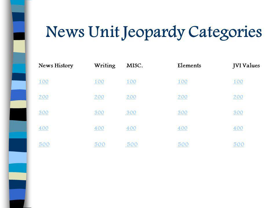 News Unit Jeopardy Categories News HistoryWriting MISC.ElementsJVI Values 100 100100 100100100100 200 200200 200200200200 300 300300 300300300 300 400 400400 400400400400 500 500500 500500500 500