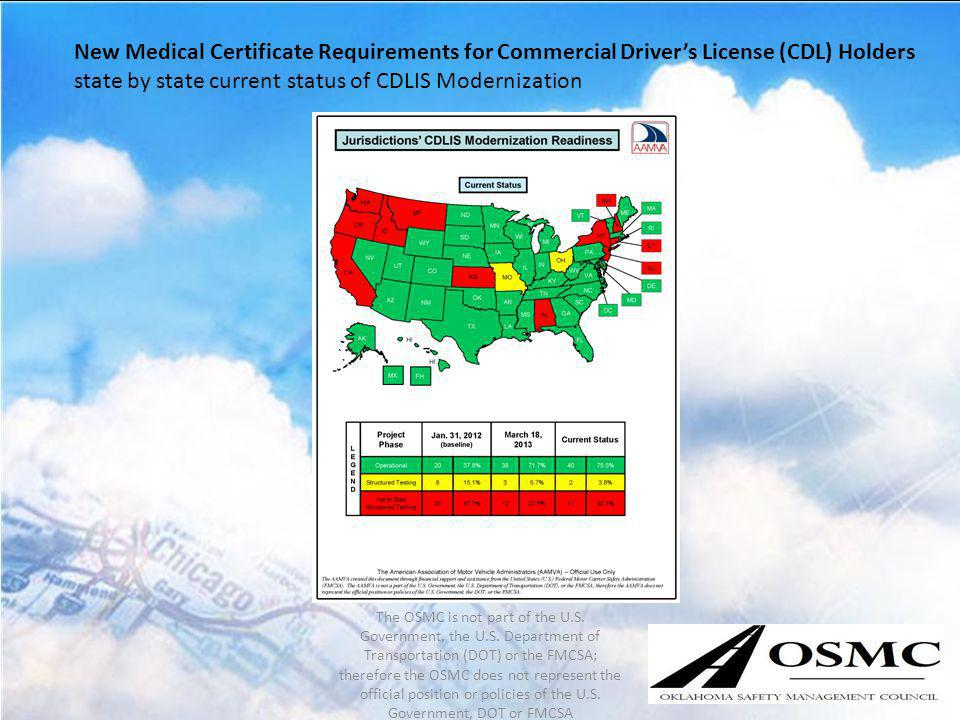 New Medical Certificate Requirements for Commercial Drivers License (CDL) Holders state by state current status of CDLIS Modernization