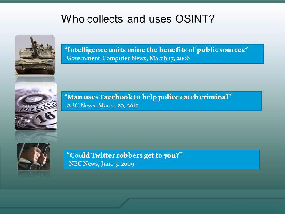 Who collects and uses OSINT.