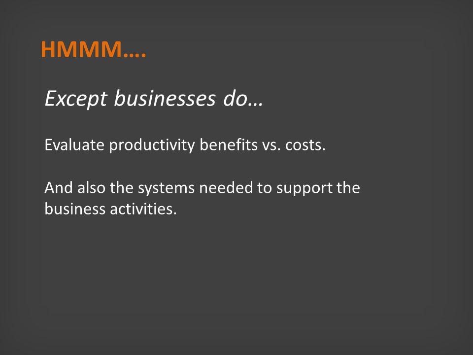 Except businesses do… Evaluate productivity benefits vs.