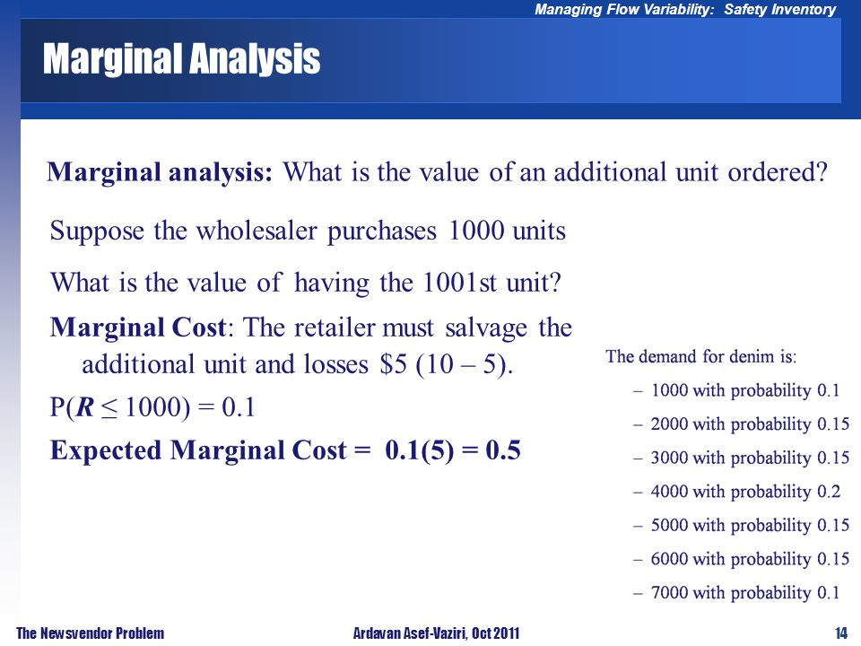 14 Managing Flow Variability: Safety Inventory The Newsvendor ProblemArdavan Asef-Vaziri, Oct 2011 Marginal Analysis Marginal analysis: What is the value of an additional unit ordered.