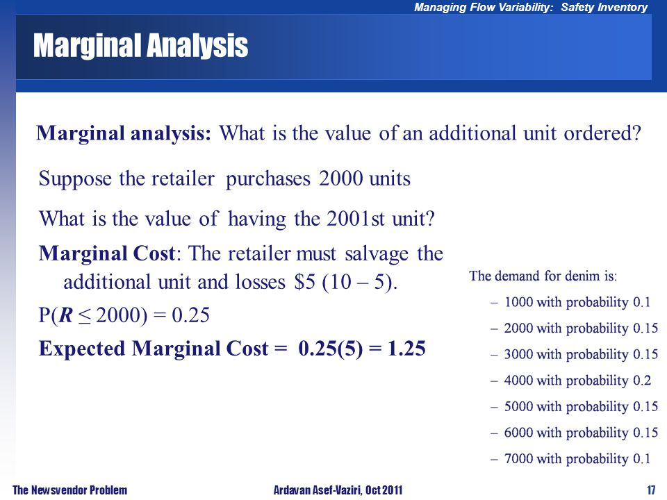 17 Managing Flow Variability: Safety Inventory The Newsvendor ProblemArdavan Asef-Vaziri, Oct 2011 Marginal Analysis Marginal analysis: What is the va