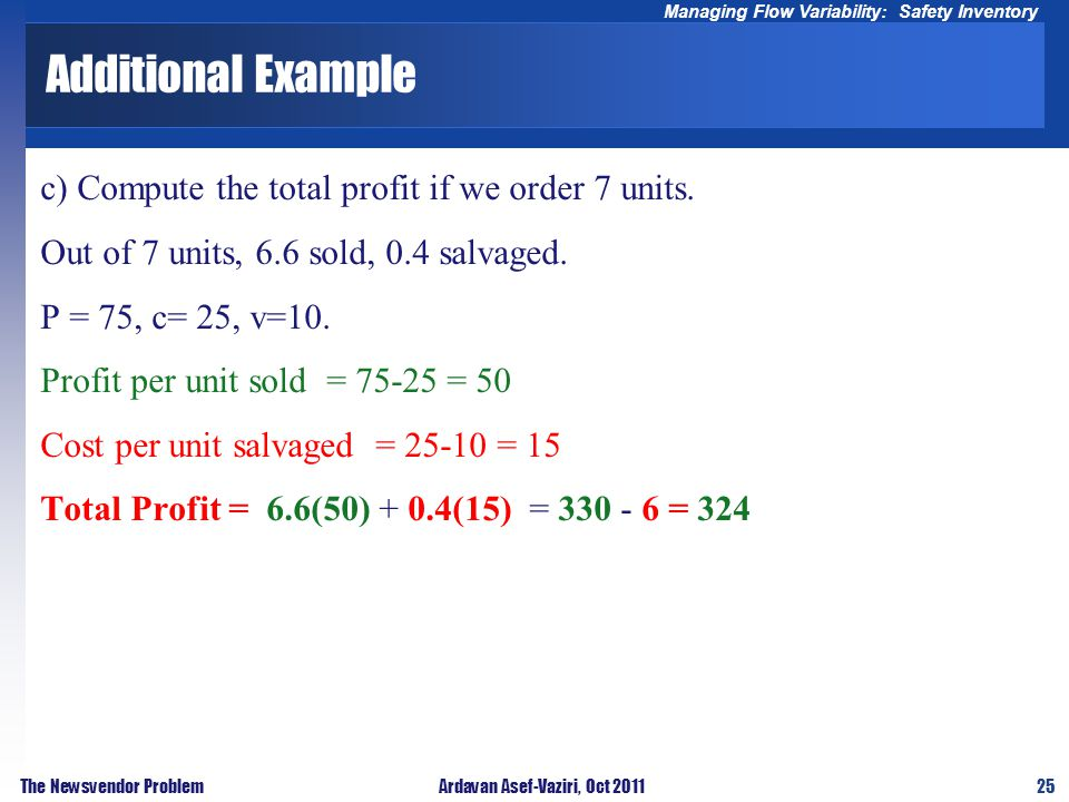 25 Managing Flow Variability: Safety Inventory The Newsvendor ProblemArdavan Asef-Vaziri, Oct 2011 Additional Example c) Compute the total profit if w