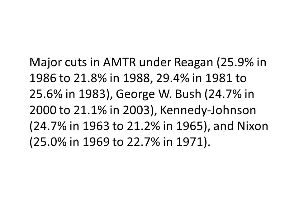 Major cuts in AMTR under Reagan (25.9% in 1986 to 21.8% in 1988, 29.4% in 1981 to 25.6% in 1983), George W. Bush (24.7% in 2000 to 21.1% in 2003), Ken