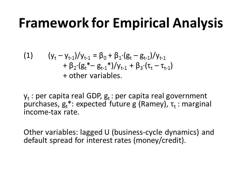 Framework for Empirical Analysis (1) (y t – y t-1 )/y t-1 = β 0 + β 1 (g t – g t-1 )/y t-1 + β 2 (g t *– g t-1 *)/y t-1 + β 3 (τ t – τ t-1 ) + other v