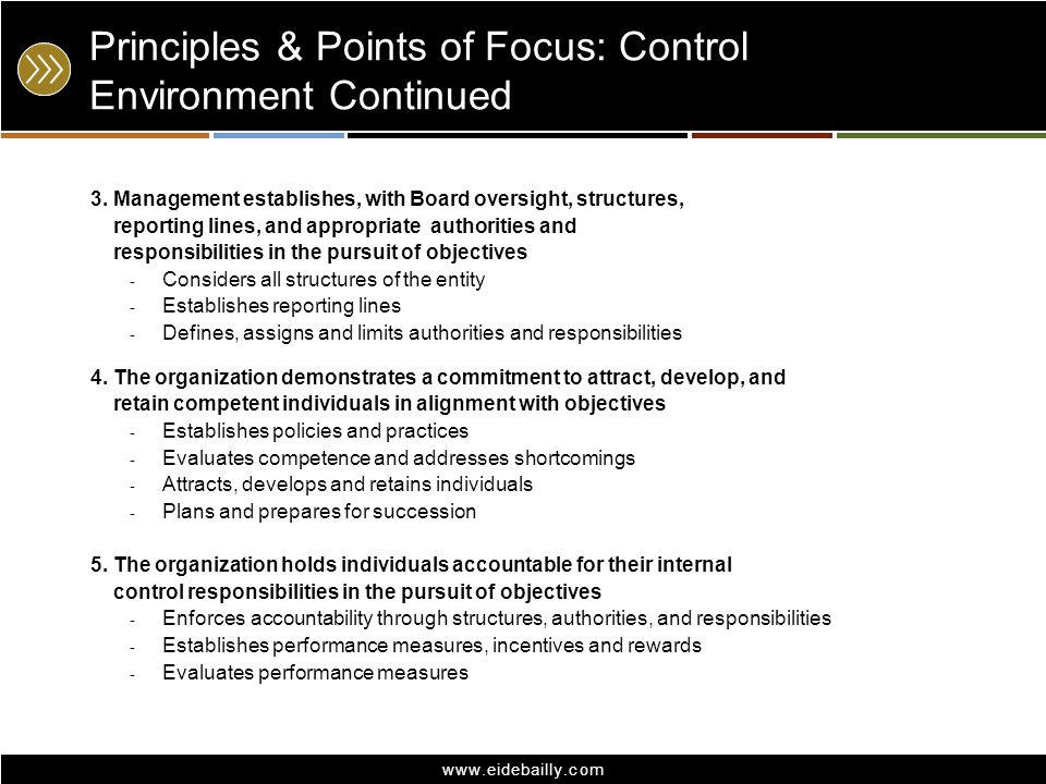 www.eidebailly.com Principles & Points of Focus: Control Environment Continued 3. Management establishes, with Board oversight, structures, reporting