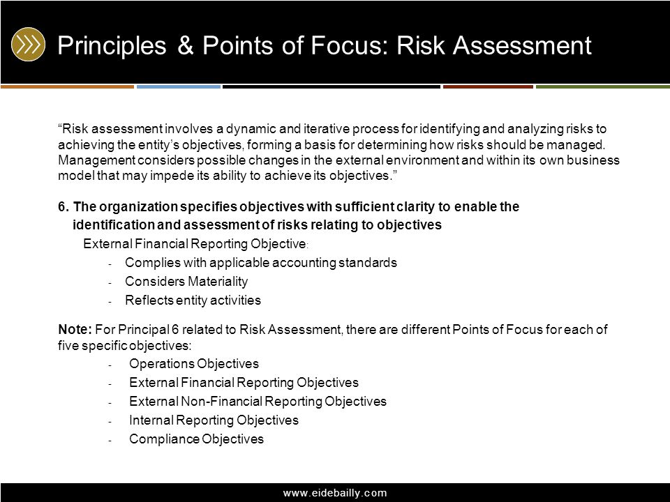 www.eidebailly.com Principles & Points of Focus: Risk Assessment Risk assessment involves a dynamic and iterative process for identifying and analyzin