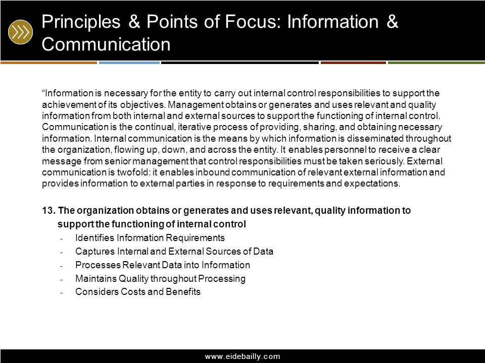 www.eidebailly.com Principles & Points of Focus: Information & Communication Information is necessary for the entity to carry out internal control res