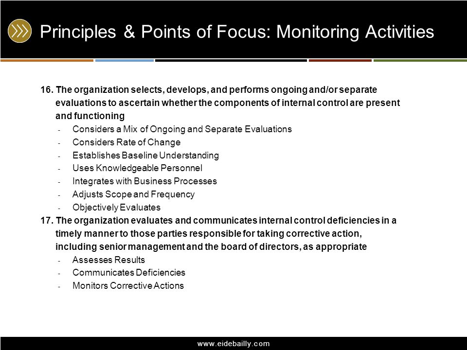 www.eidebailly.com Principles & Points of Focus: Monitoring Activities 16. The organization selects, develops, and performs ongoing and/or separate ev