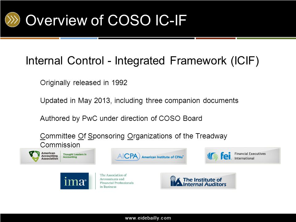 www.eidebailly.com Overview of COSO IC-IF Internal Control - Integrated Framework (ICIF) Originally released in 1992 Updated in May 2013, including th