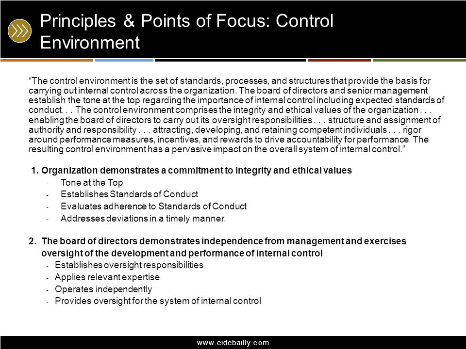 www.eidebailly.com Principles & Points of Focus: Control Environment The control environment is the set of standards, processes, and structures that p