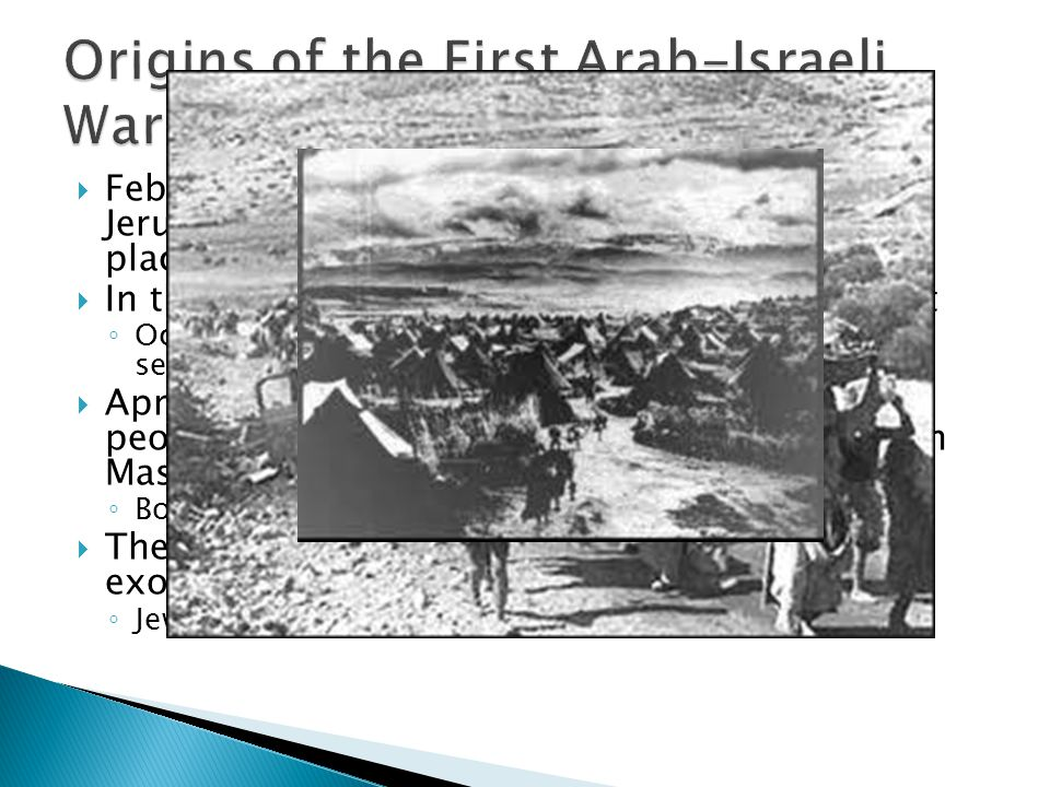 February, Jews drove out Arabs from part of Jerusalem and moved settlers in to take their place In the Spring, Hagganah implements Plan Dalet Occupy a