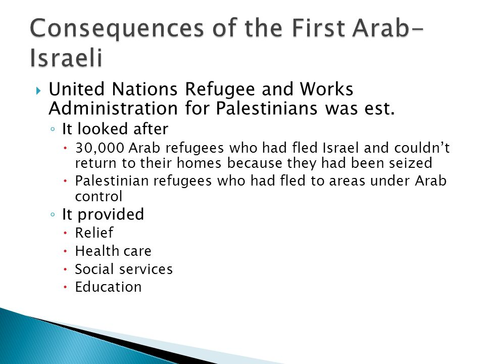 United Nations Refugee and Works Administration for Palestinians was est. It looked after 30,000 Arab refugees who had fled Israel and couldnt return