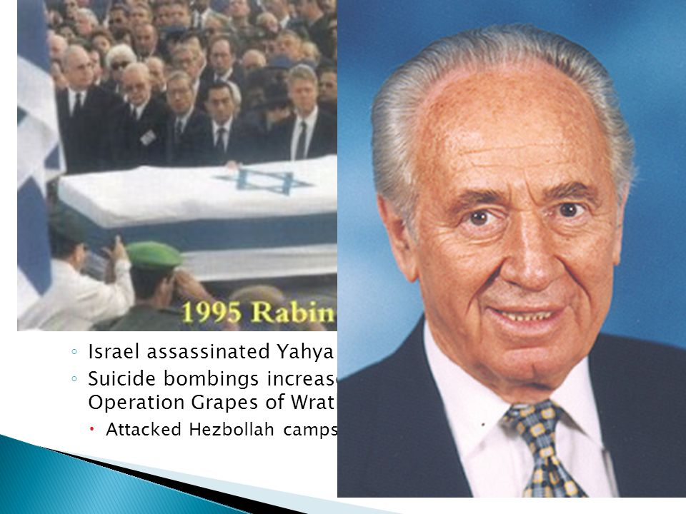 Radicals were furious on both sides Rabin was assassinated on Nov. 4, 1995 Shimon Peres became the new Prime Minister and began implementing the peace