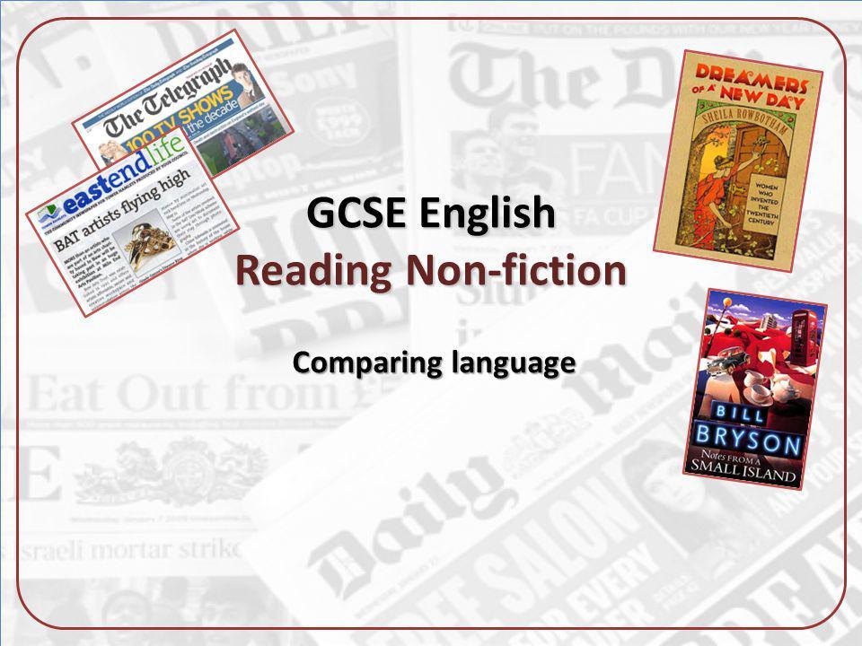 GCSE English Reading Non-fiction Comparing language