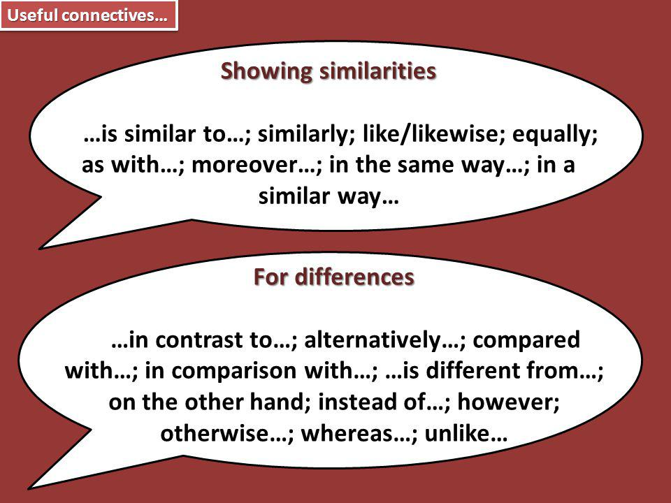 Useful connectives… For differences …in contrast to…; alternatively…; compared with…; in comparison with…; …is different from…; on the other hand; ins